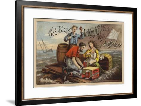 Shipwreck Survivors, Eating Corned Beef on a Raft in Storm--Framed Art Print