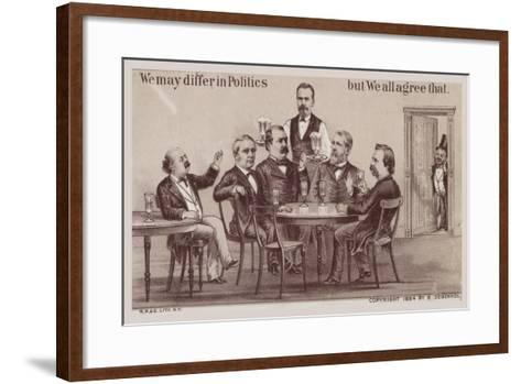 Politicians Enjoying Drinks around the Table-American School-Framed Art Print