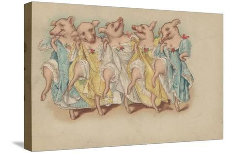 A Group of Pigs Dancing in a Line--Stretched Canvas Print