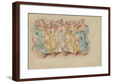 A Group of Pigs Dancing in a Line--Framed Art Print