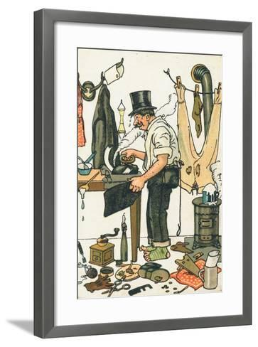 A Man Ironing His Clothes--Framed Art Print