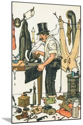 A Man Ironing His Clothes--Mounted Giclee Print