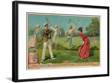 Butterfly Hunting and Lawn Tennis--Framed Art Print