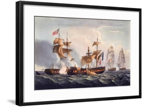 Capture of La Minerve, Print Made by Thomas Sutherland, from 'The Naval Achievements of Great…-Thomas Whitcombe-Framed Art Print