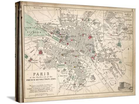 Map of Paris at the Outbreak of the French Revolution, 1789, Published by William Blackwood and…-Alexander Keith Johnston-Stretched Canvas Print