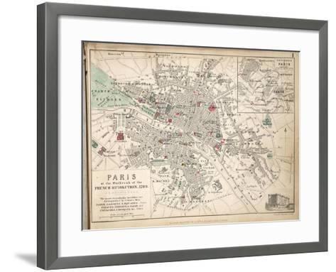 Map of Paris at the Outbreak of the French Revolution, 1789, Published by William Blackwood and…-Alexander Keith Johnston-Framed Art Print