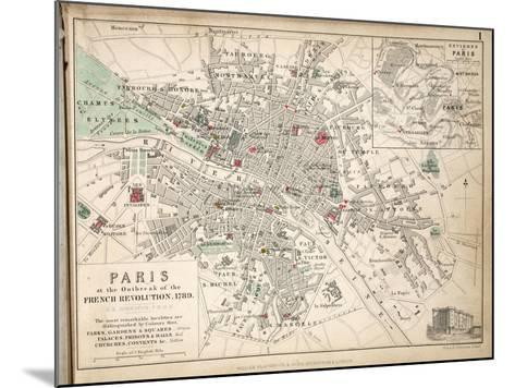 Map of Paris at the Outbreak of the French Revolution, 1789, Published by William Blackwood and…-Alexander Keith Johnston-Mounted Giclee Print