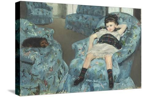Little Girl in a Blue Armchair, 1878-Mary Cassatt-Stretched Canvas Print