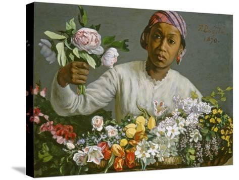 Young Woman with Peonies, 1870-Frederic Bazille-Stretched Canvas Print