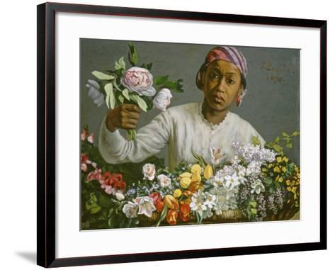 Young Woman with Peonies, 1870-Frederic Bazille-Framed Art Print