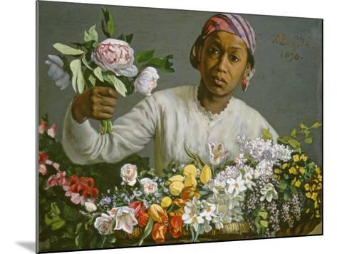 Young Woman with Peonies, 1870-Frederic Bazille-Mounted Giclee Print