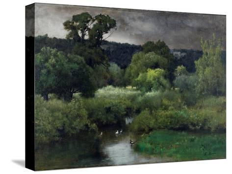 A Grey Lowery Day, 1877-George Snr^ Inness-Stretched Canvas Print