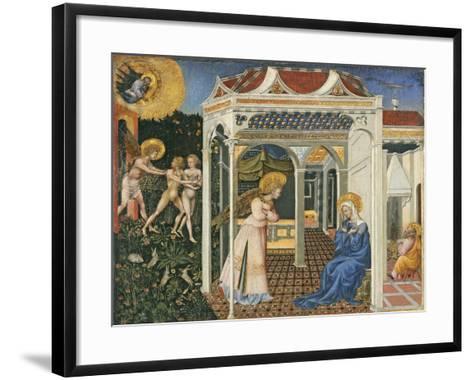 The Annunciation and Expulsion from Paradise, C. 1435-Giovanni di Paolo di Grazia-Framed Art Print