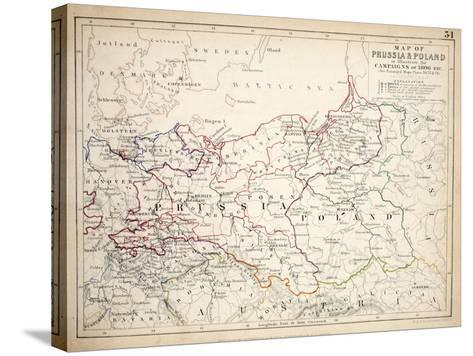 Map of Prussia and Poland, Published by William Blackwood and Sons, Edinburgh and London, 1848-Alexander Keith Johnston-Stretched Canvas Print