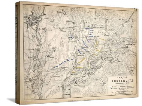 Map of the Battle of Austerlitz, Published by William Blackwood and Sons, Edinburgh and London,?-Alexander Keith Johnston-Stretched Canvas Print