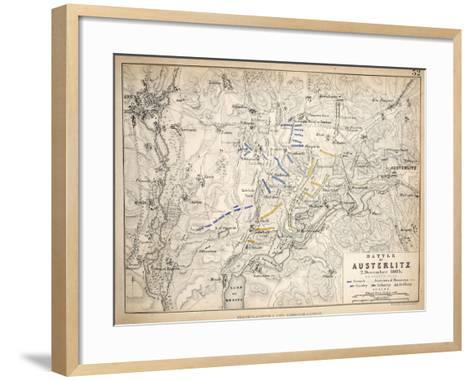 Map of the Battle of Austerlitz, Published by William Blackwood and Sons, Edinburgh and London,?-Alexander Keith Johnston-Framed Art Print