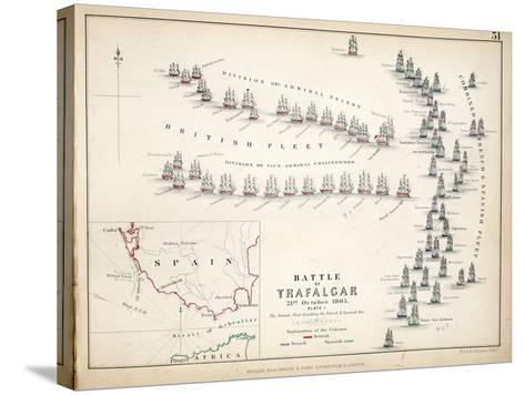 Map of the Battle of Trafalgar, Published by William Blackwood and Sons, Edinburgh and London, 1848-Alexander Keith Johnston-Stretched Canvas Print