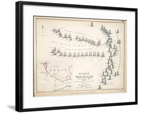 Map of the Battle of Trafalgar, Published by William Blackwood and Sons, Edinburgh and London, 1848-Alexander Keith Johnston-Framed Art Print