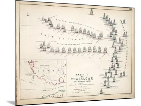 Map of the Battle of Trafalgar, Published by William Blackwood and Sons, Edinburgh and London, 1848-Alexander Keith Johnston-Mounted Giclee Print