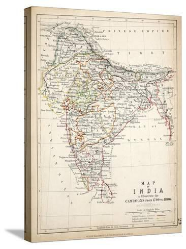 Map of India, Published by William Blackwood and Sons, Edinburgh and London, 1848-Alexander Keith Johnston-Stretched Canvas Print