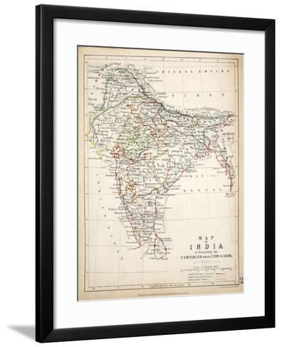 Map of India, Published by William Blackwood and Sons, Edinburgh and London, 1848-Alexander Keith Johnston-Framed Art Print