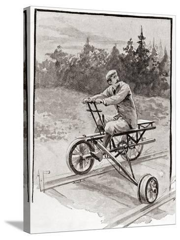 A Nineteenth Century Three Wheeled Velocipede on a Railroad Track. from the Strand Magazine,…--Stretched Canvas Print