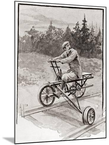 A Nineteenth Century Three Wheeled Velocipede on a Railroad Track. from the Strand Magazine,…--Mounted Giclee Print