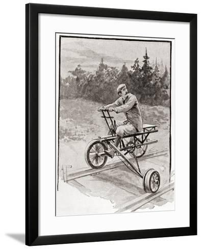 A Nineteenth Century Three Wheeled Velocipede on a Railroad Track. from the Strand Magazine,…--Framed Art Print
