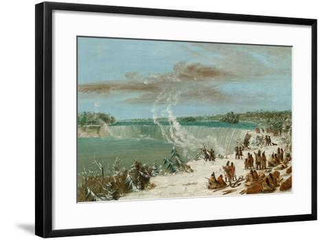Portage around the Falls of Niagara at Table Rock, 1847- 48-George Catlin-Framed Art Print