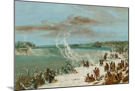 Portage around the Falls of Niagara at Table Rock, 1847- 48-George Catlin-Mounted Giclee Print