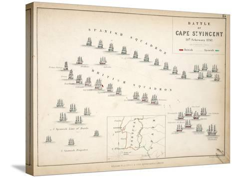 Map of the Battle of Cape St. Vincent, Published by William Blackwood and Sons, Edinburgh and…-Alexander Keith Johnston-Stretched Canvas Print