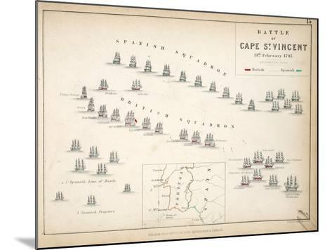 Map of the Battle of Cape St. Vincent, Published by William Blackwood and Sons, Edinburgh and…-Alexander Keith Johnston-Mounted Giclee Print