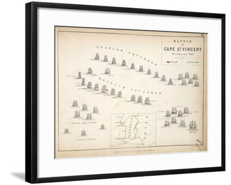 Map of the Battle of Cape St. Vincent, Published by William Blackwood and Sons, Edinburgh and…-Alexander Keith Johnston-Framed Art Print