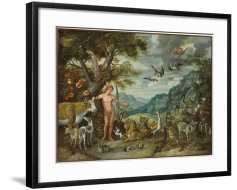 Adam Naming the Animals, from the Story of Adam and Eve-Jan Brueghel the Younger-Framed Art Print