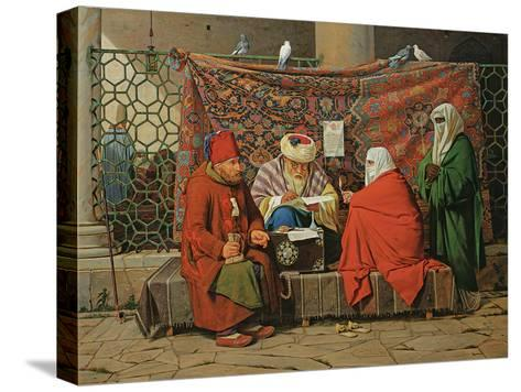 A Turkish Notary Drawing Up a Marriage Contract in Front of the Kilic Ali Pasha Mosque, Tophane,…-Martinus Rorbye-Stretched Canvas Print