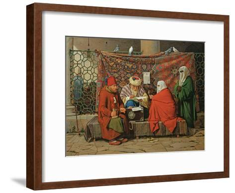 A Turkish Notary Drawing Up a Marriage Contract in Front of the Kilic Ali Pasha Mosque, Tophane,…-Martinus Rorbye-Framed Art Print