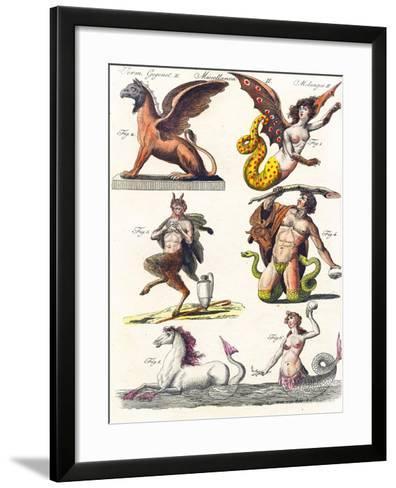 Plate Showing Various Mythological Hybrids, 1830-German School-Framed Art Print