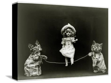 Kittens and a Doll Skipping, 1891--Stretched Canvas Print