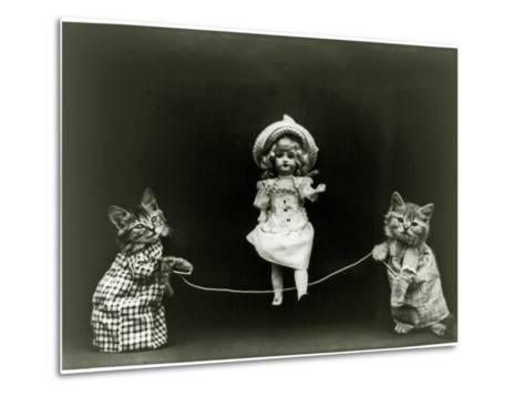 Kittens and a Doll Skipping, 1891--Metal Print