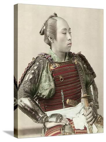 Portrait of a Samurai of Old Japan Armed with Full Body Armour, 1890--Stretched Canvas Print