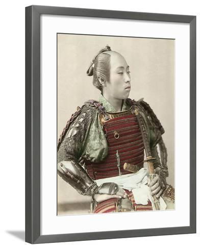 Portrait of a Samurai of Old Japan Armed with Full Body Armour, 1890--Framed Art Print
