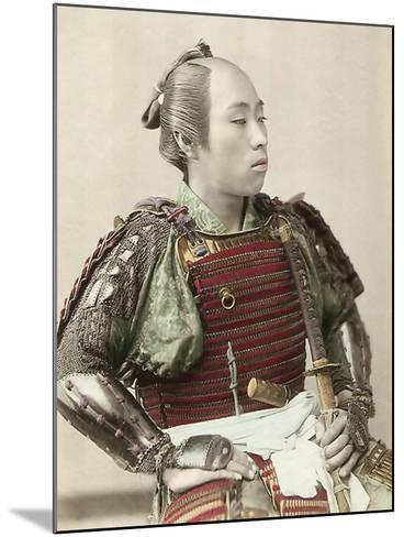 Portrait of a Samurai of Old Japan Armed with Full Body Armour, 1890--Mounted Photographic Print