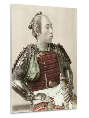 Portrait of a Samurai of Old Japan Armed with Full Body Armour, 1890--Metal Print