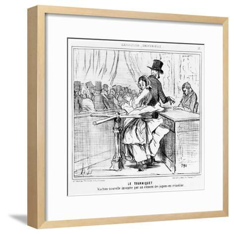 Turnstile at the Universal Exhibition in Paris, Cartoon from the 'Exposition Universelle' Series,…-Honore Daumier-Framed Art Print