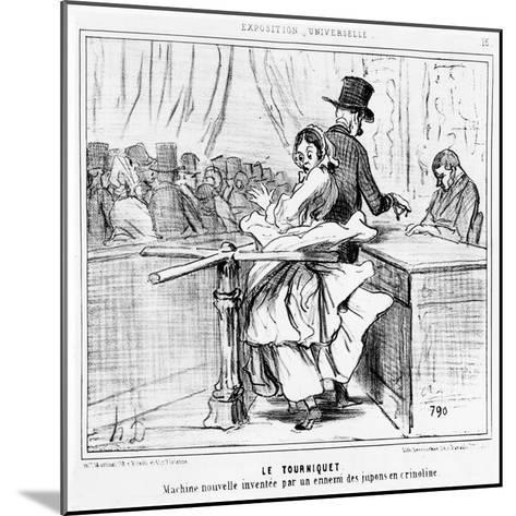 Turnstile at the Universal Exhibition in Paris, Cartoon from the 'Exposition Universelle' Series,…-Honore Daumier-Mounted Giclee Print
