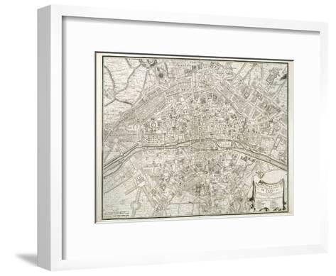 Map of Paris, from 'L'Atlas De Paris' by Jean De La Caille, 1714--Framed Art Print