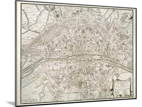 Map of Paris, from 'L'Atlas De Paris' by Jean De La Caille, 1714--Mounted Giclee Print