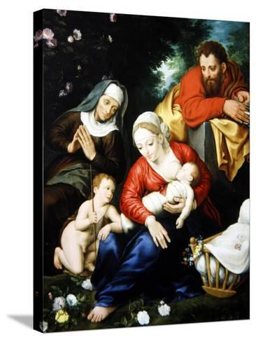 The Virgin and Child with St Joseph, Elizabeth and St John--Stretched Canvas Print