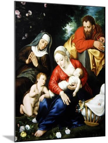 The Virgin and Child with St Joseph, Elizabeth and St John--Mounted Giclee Print