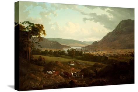 A Scene in the Lake District-Julius Caesar Ibbetson-Stretched Canvas Print